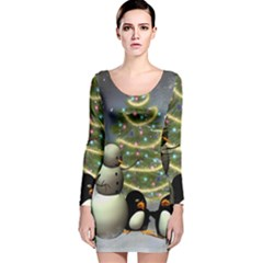 Funny Snowman With Penguin And Christmas Tree Long Sleeve Velvet Bodycon Dress