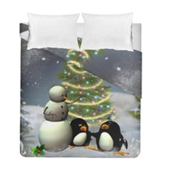 Funny Snowman With Penguin And Christmas Tree Duvet Cover Double Side (full/ Double Size) by FantasyWorld7