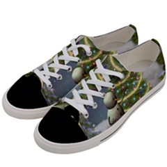 Funny Snowman With Penguin And Christmas Tree Women s Low Top Canvas Sneakers by FantasyWorld7