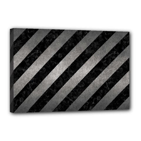 Stripes3 Black Marble & Gray Metal 1 Canvas 18  X 12  by trendistuff