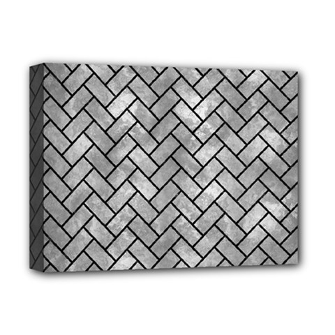 Brick2 Black Marble & Gray Metal 2 (r) Deluxe Canvas 16  X 12   by trendistuff