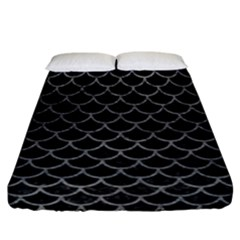 Scales1 Black Marble & Gray Leather Fitted Sheet (california King Size) by trendistuff