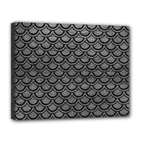 Scales2 Black Marble & Gray Leather (r) Canvas 14  X 11  by trendistuff
