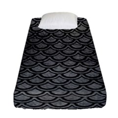 Scales2 Black Marble & Gray Leather (r) Fitted Sheet (single Size) by trendistuff