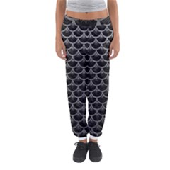 Scales3 Black Marble & Gray Leather Women s Jogger Sweatpants by trendistuff