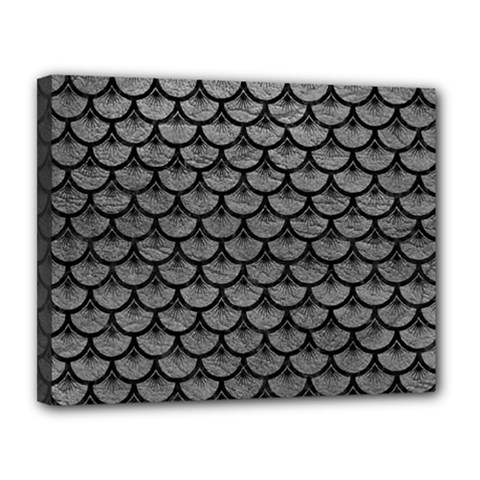 Scales3 Black Marble & Gray Leather (r) Canvas 14  X 11  by trendistuff