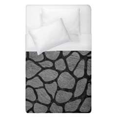 Skin1 Black Marble & Gray Leather Duvet Cover (single Size)