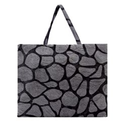 Skin1 Black Marble & Gray Leather Zipper Large Tote Bag by trendistuff
