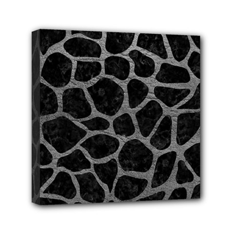 Skin1 Black Marble & Gray Leather (r) Mini Canvas 6  X 6  by trendistuff
