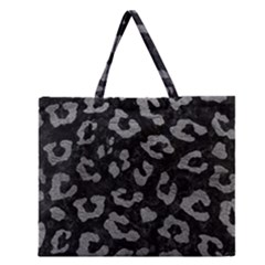 Skin5 Black Marble & Gray Leather (r) Zipper Large Tote Bag by trendistuff