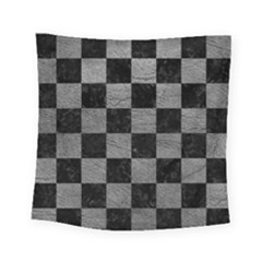 Square1 Black Marble & Gray Leather Square Tapestry (small) by trendistuff