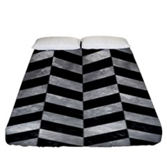 Chevron1 Black Marble & Gray Metal 2 Fitted Sheet (king Size) by trendistuff