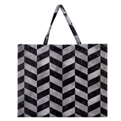 Chevron1 Black Marble & Gray Metal 2 Zipper Large Tote Bag by trendistuff
