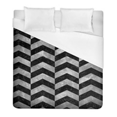 Chevron2 Black Marble & Gray Metal 2 Duvet Cover (full/ Double Size) by trendistuff