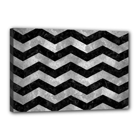 Chevron3 Black Marble & Gray Metal 2 Canvas 18  X 12  by trendistuff