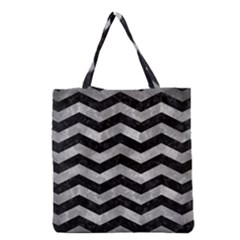 Chevron3 Black Marble & Gray Metal 2 Grocery Tote Bag