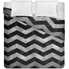 Chevron3 Black Marble & Gray Metal 2 Duvet Cover Double Side (king Size) by trendistuff