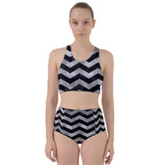 Chevron3 Black Marble & Gray Metal 2 Racer Back Bikini Set