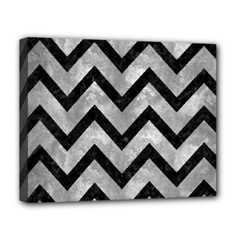 Chevron9 Black Marble & Gray Metal 2 (r) Deluxe Canvas 20  X 16   by trendistuff