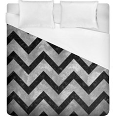 Chevron9 Black Marble & Gray Metal 2 (r) Duvet Cover (king Size) by trendistuff