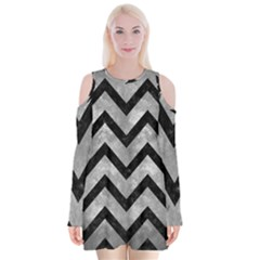 Chevron9 Black Marble & Gray Metal 2 (r) Velvet Long Sleeve Shoulder Cutout Dress
