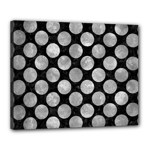 Circles2 Black Marble & Gray Metal 2 Canvas 20  X 16  by trendistuff