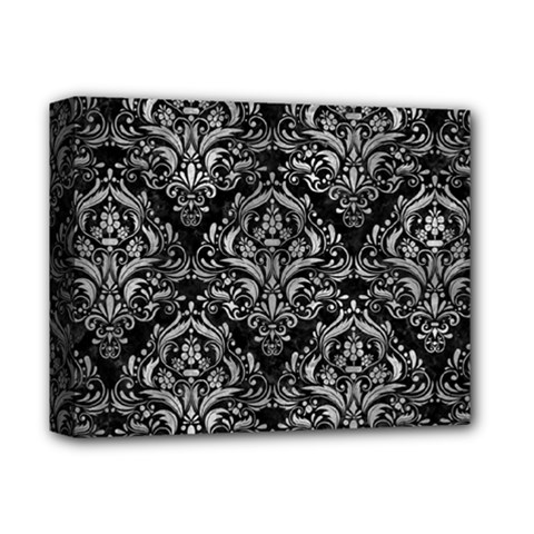 Damask1 Black Marble & Gray Metal 2 Deluxe Canvas 14  X 11  by trendistuff