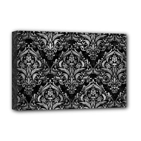 Damask1 Black Marble & Gray Metal 2 Deluxe Canvas 18  X 12   by trendistuff