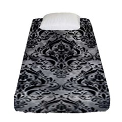 Damask1 Black Marble & Gray Metal 2 (r) Fitted Sheet (single Size) by trendistuff