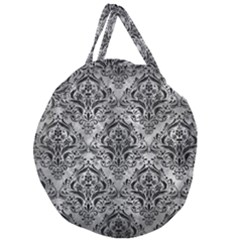 Damask1 Black Marble & Gray Metal 2 (r) Giant Round Zipper Tote by trendistuff