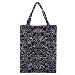 Damask2 Black Marble & Gray Metal 2 Classic Tote Bag by trendistuff