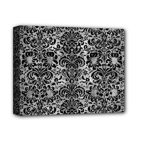Damask2 Black Marble & Gray Metal 2 (r) Deluxe Canvas 14  X 11  by trendistuff