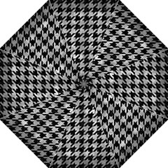 Houndstooth1 Black Marble & Gray Metal 2 Golf Umbrellas by trendistuff