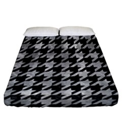 Houndstooth1 Black Marble & Gray Metal 2 Fitted Sheet (california King Size) by trendistuff