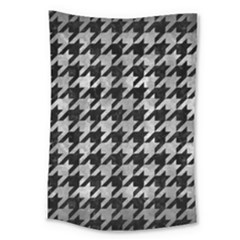 Houndstooth1 Black Marble & Gray Metal 2 Large Tapestry by trendistuff