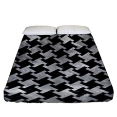 Houndstooth2 Black Marble & Gray Metal 2 Fitted Sheet (king Size) by trendistuff