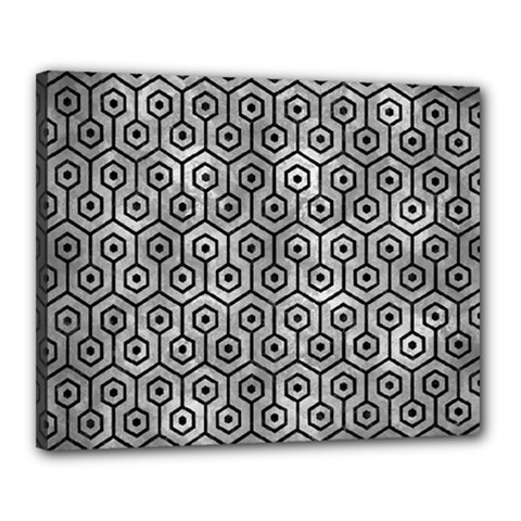 Hexagon1 Black Marble & Gray Metal 2 (r) Canvas 20  X 16  by trendistuff