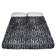 Hexagon1 Black Marble & Gray Metal 2 (r) Fitted Sheet (california King Size) by trendistuff