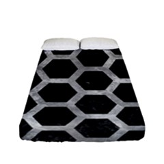 Hexagon2 Black Marble & Gray Metal 2 Fitted Sheet (full/ Double Size) by trendistuff