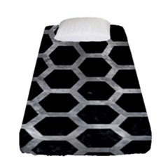 Hexagon2 Black Marble & Gray Metal 2 Fitted Sheet (single Size) by trendistuff