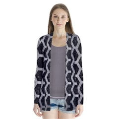 Hexagon2 Black Marble & Gray Metal 2 Drape Collar Cardigan by trendistuff