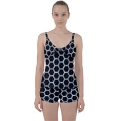 Hexagon2 Black Marble & Gray Metal 2 Tie Front Two Piece Tankini