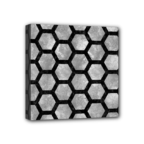 Hexagon2 Black Marble & Gray Metal 2 (r) Mini Canvas 4  X 4  by trendistuff