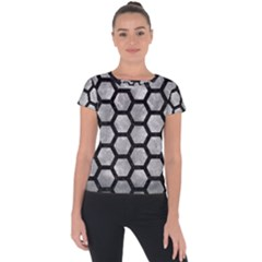 Hexagon2 Black Marble & Gray Metal 2 (r) Short Sleeve Sports Top