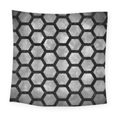 Hexagon2 Black Marble & Gray Metal 2 (r) Square Tapestry (large) by trendistuff