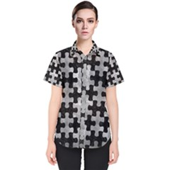 Puzzle1 Black Marble & Gray Metal 2 Women s Short Sleeve Shirt