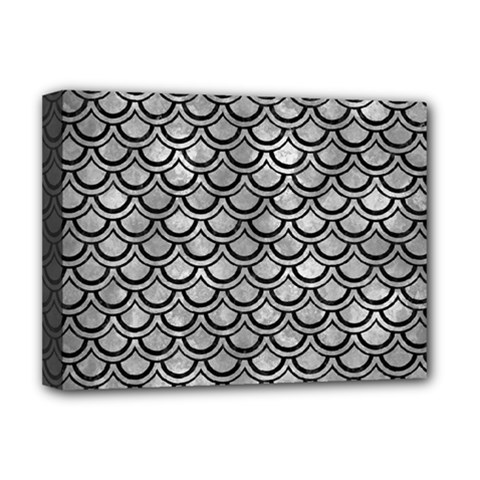 Scales2 Black Marble & Gray Metal 2 (r) Deluxe Canvas 16  X 12   by trendistuff
