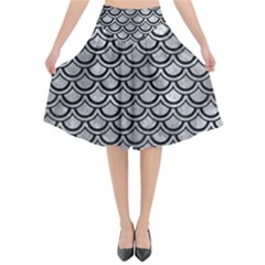 Scales2 Black Marble & Gray Metal 2 (r) Flared Midi Skirt by trendistuff