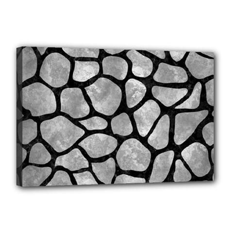 Skin1 Black Marble & Gray Metal 2 Canvas 18  X 12  by trendistuff