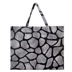 Skin1 Black Marble & Gray Metal 2 Zipper Large Tote Bag by trendistuff